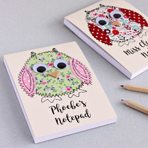 Personalised Owl Embroidered Notepad - notepads & to do lists