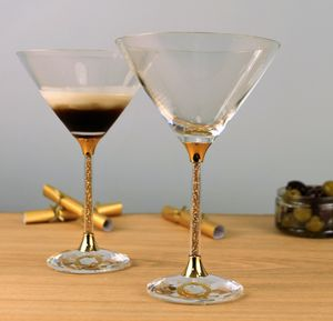 Pair Of 24ct Gold Filled Stem Cocktail Glasses