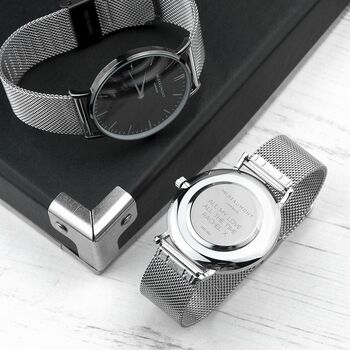 Personalised Men's Metallic Silver Watch/Black Face