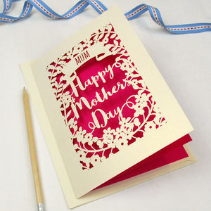 Personalised Papercut Happy Mother's Day Card