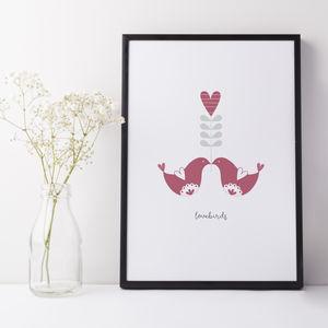 Scandi Style Love Birds Print Gift