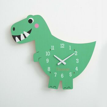 Personalised Children's Dinosaur Wall Clock