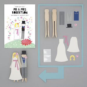 Personalised Make Your Own Bride And Groom Peg Doll Kit
