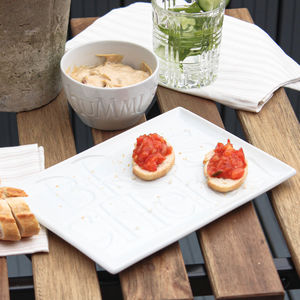 White Ceramic Bruschetta Tray Gift Boxed
