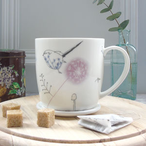 Dandelion And Bird, Bone China Mug
