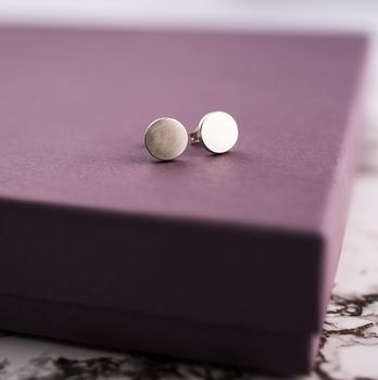 Matt Silver Disk Stud Earrings