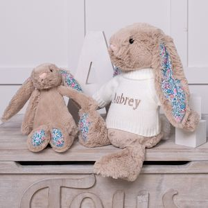 Personalised Blossom Beige Bunny Soft Toy - gifts for babies