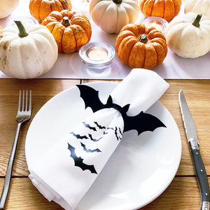 Halloween Personalised Bat Napkin Ring Set Of Two - halloween