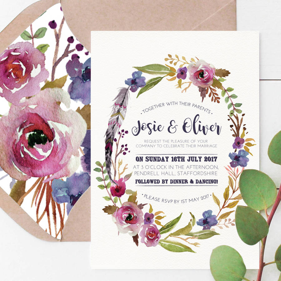 violet bohemian watercolour floral wedding invitation by peach wolfe