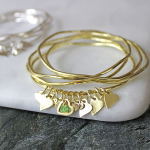 Swarovski Crystal Heart Stacking Bangles - summer sale