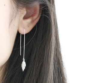 Sterling Silver Leaf Ear Threads - modern-boho