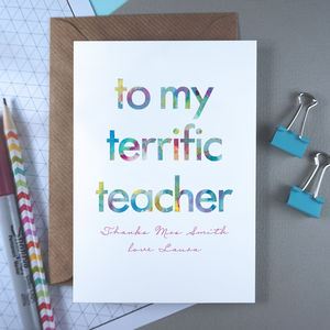Terrific Teacher | Thank You Card | Personalised - what's new