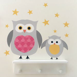 Mummy And Baby Owl Wall Stickers