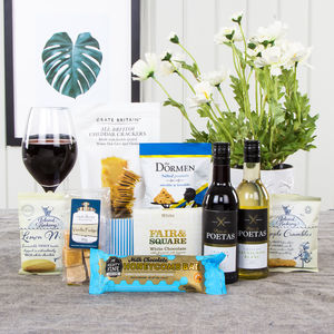 Treats And Wine Gift Box Hamper - biscuits & cookies