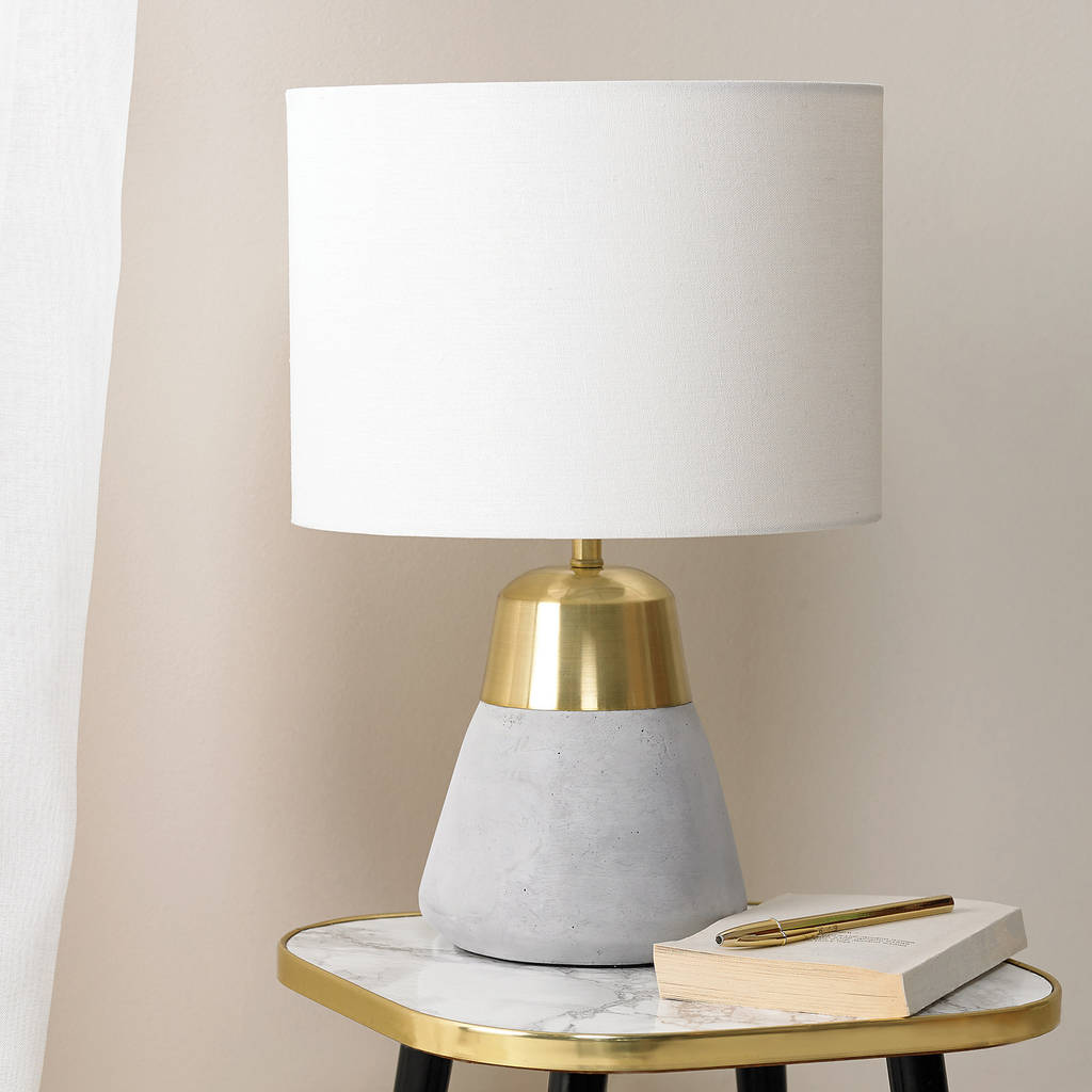 Concrete And Gold Table Lamp by Primrose &Amp; Plum