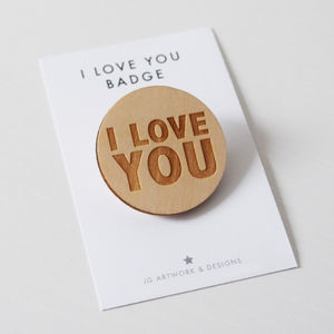 I Love You Engraved Wooden Badge - jewellery sale