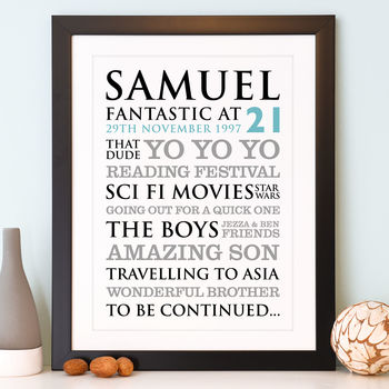 Personalised 21st Birthday Typographic Art Print