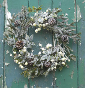 Snow Berry Fir And Pine Cone Wreath - flowers & plants