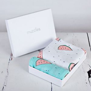 Watermelon Muslin Blanket And Burp Cloth Gift Set - blankets, comforters & throws