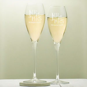 Personalised Mr And Mrs Wedding Flutes - table decorations
