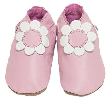 soft leather baby girls shoes Daisy flower design in baby pink