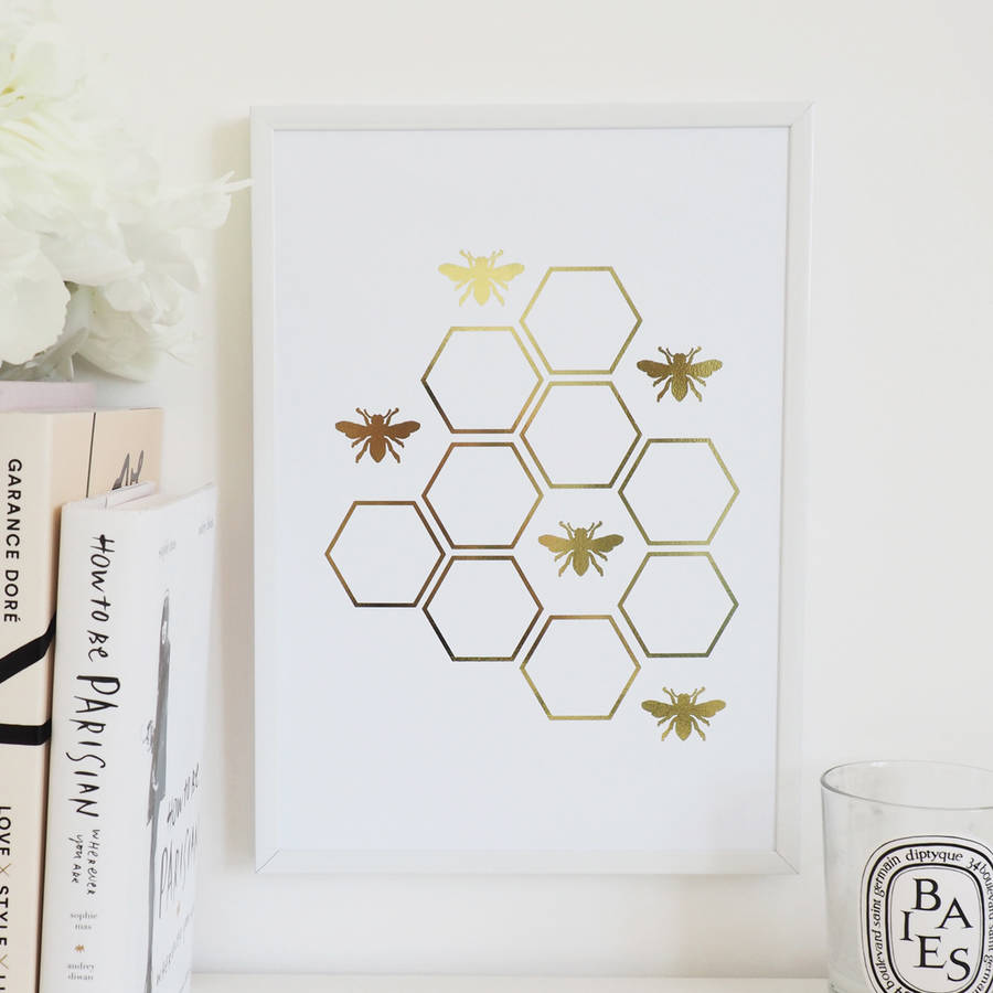 Greatest honey bee foil wall art print by lily rose co  MF45