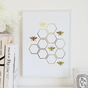 Honey Bee Foil Wall Art Print