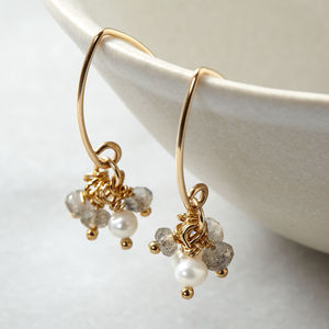 Labradorite And Pearl Gold Cluster Earrings - earrings