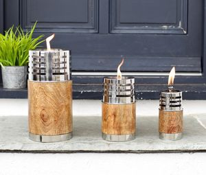 Mango Wood And Steel Garden Oil Lamp - outdoor lights