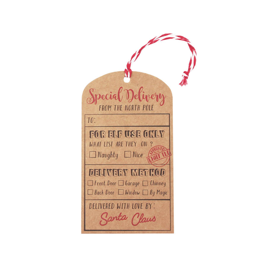 santa kraft special delivery gift tags by ginger ray ...