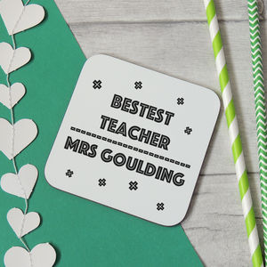 Personalised Bestest Teacher Wooden Coaster - summer sale