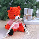Personalised Foxxie Hand Knitted Teddy Bear