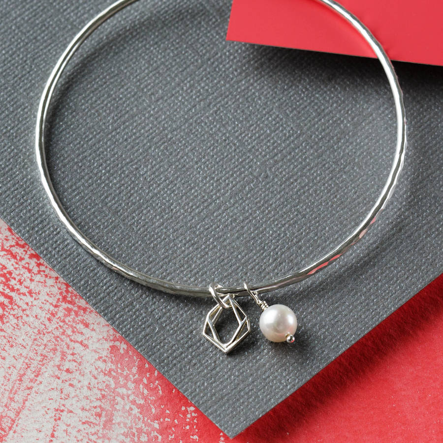 Sterling Silver Geometric Diamond Pearl Charm Bangle