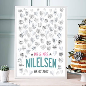 Personalised Wedding Guest Book Print 50 Or 80 Hearts - posters & prints