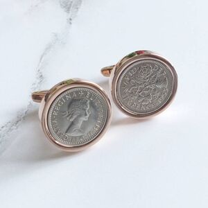 Personalised Rose Gold Sixpence Cufflinks