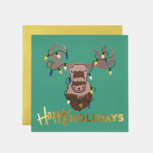 Happy Holidays Moose Christmas Greeting Card - cards