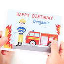 Personalised Firefighter Child Birthday Card