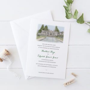 Wedding Invitation With Venue Portrait - wedding stationery