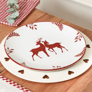 White And Red Winter Wonderland Dinner Plate - dining room