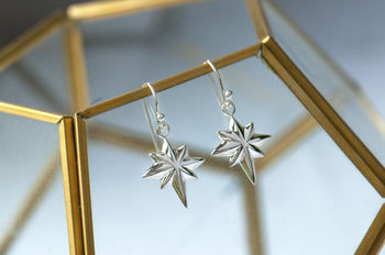 Sterling Silver Star Of The North Drop Earrings