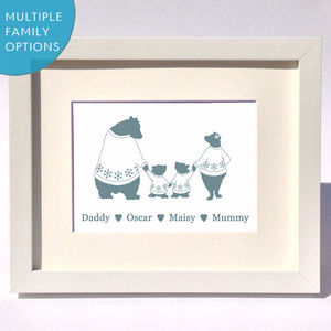 Personalised Christmas Bears Family Print