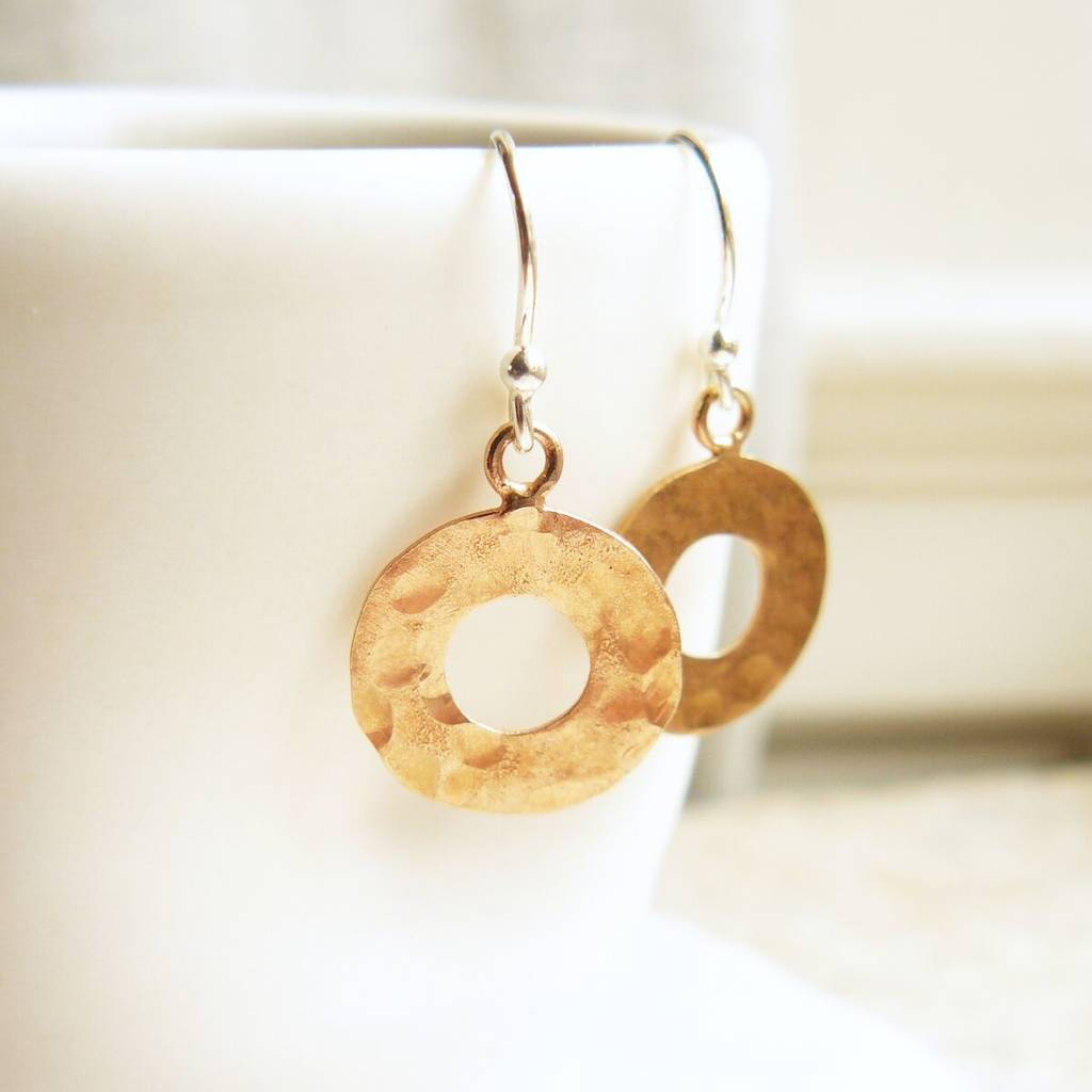 Rose Gold Hammered Circle Drop Earrings