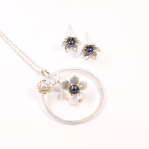 Silver And Pearl Star Flower Frame Large Pendant Set - necklaces & pendants