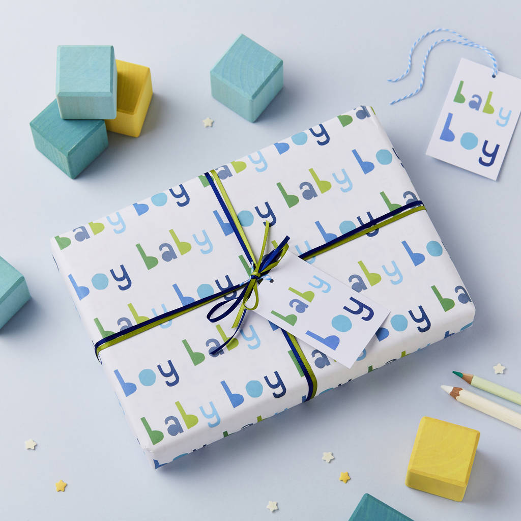 Baby Boy Wrapping Paper Set By Studio 9 Ltd Notonthehighstreet Com