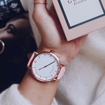 Rose Gold And Pink Leather Strap Watch