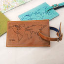 Personalised Leather Luggage Tag With World Map