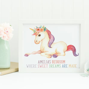 Girls Bedroom Unicorn Print Gift - posters & prints
