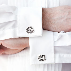 Child's Doodle Silver Cufflinks - men's accessories