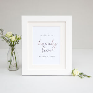 25th Wedding Anniversary Personalised Foil Print