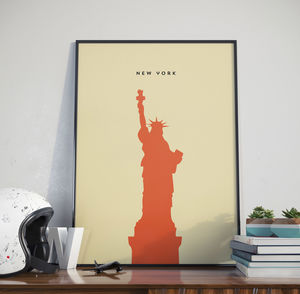 New York Statue Of Liberty Contemporary Landmark Print - maps & locations